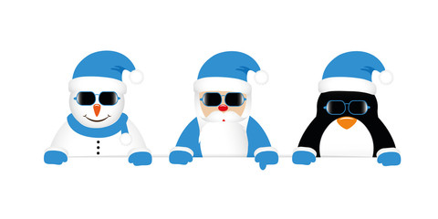 cool snowman santa and penguin cartoon with sunglasses in blue clothes vector illustration EPS10