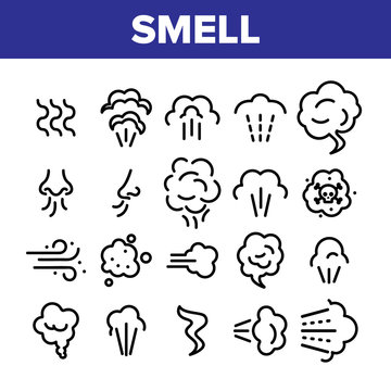 Smell Cloud Collection Elements Icons Set Vector Thin Line. Smell Of Cooking Food Vapour Smoke, Gas Steam And Human Smelling Concept Linear Pictograms. Monochrome Contour Illustrations
