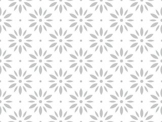 Foto op Canvas Geometrisch Flower geometric pattern. Seamless vector background. White and grey ornament. Ornament for fabric, wallpaper, packaging. Decorative print.