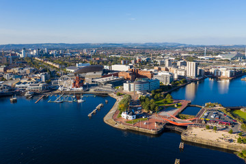 Keuken foto achterwand Europese Plekken Aerial view of Cardiff Bay, the Capital of Wales, UK 2019 on a clear sky summer day