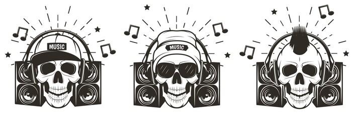 Music skull set, vector hand drawn illustration