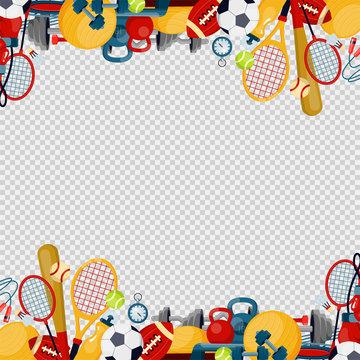 Sports equipment flat vector illustration Fitness themed frame