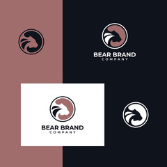 silhouette bear style design negative space simple