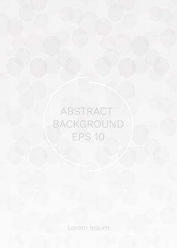 Vector illustration of grey-white abstract geometric background. Innovation backdrop with circle empty space for your text. Creative minimal design template. Seamless pattern in eps10 file.