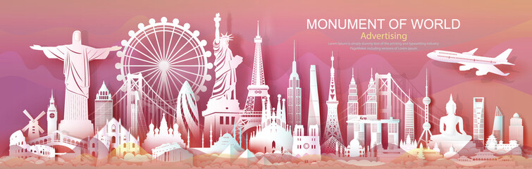 Wall Mural - Brochure business advertising landmarks of world with colorful background.