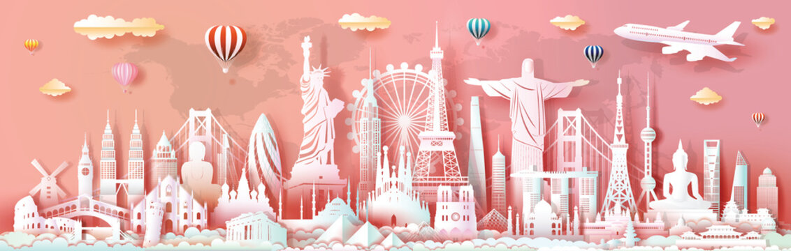 Brochure and business advertising landmarks of world travel monument.