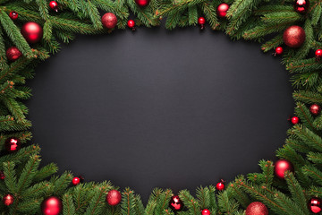Christmas or New Year black background with oval frame