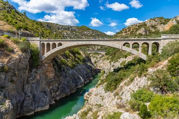 Poster de jardin Ponts Pont du Diable (Devil's bridge), near St Guilhem du Desert, Herault, Languedoc Roussillon, old bridge on the herault river