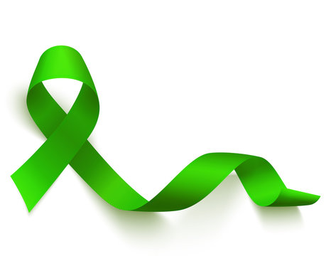 Realistic green ribbon. Medical symbol of Lymphoma, Liver, organ donation or glaucoma awareness month. Vector .
