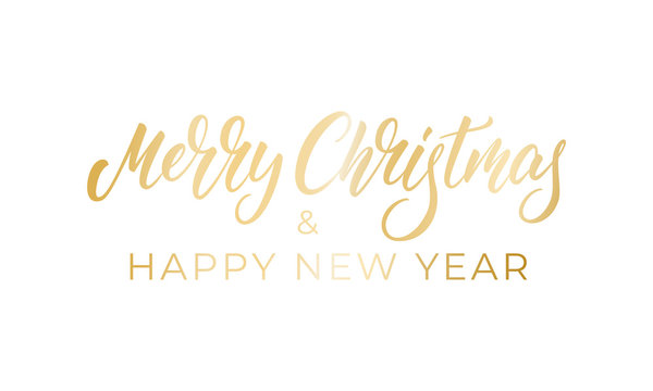 Merry Christmas and Happy New Year. Calligraphy lettering badge design for winter Xmas and New Year