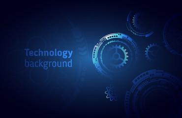 Hi-tech digital technology concept. Illustration high computer technology on blue background. Abstract futuristic design.