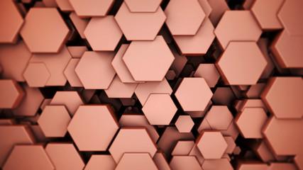 Wall Mural - bronze metallic material hexagons background, 3d render illustration.