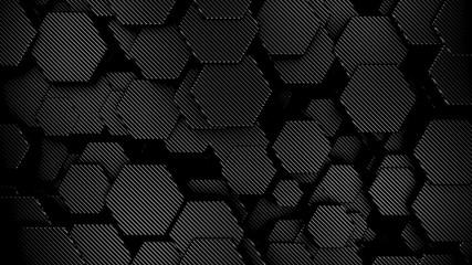 Wall Mural - Carbon fiber  hexagons background, 3d render illustration.
