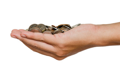 Man hand holding coins on white background and isolated photo.Growth saving and investment concept.