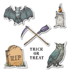 Vintage Style Halloween Stickers Set. Hand Drawn Owl, Bat, Candle, Tombstone and Crossed Broom and Scythe Sketch Symbols Collection. Soft Shadows.