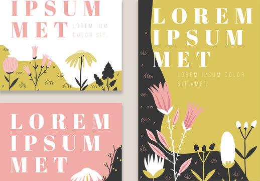 Illustrative Floral Social Media Post Layout Set