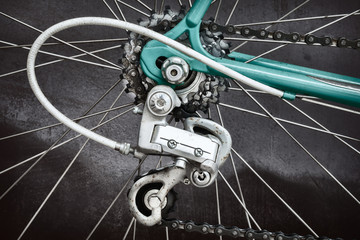 Close up of the derailleur of a vintage seventies racing bicycle