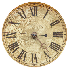 Old clock face with roman numbers