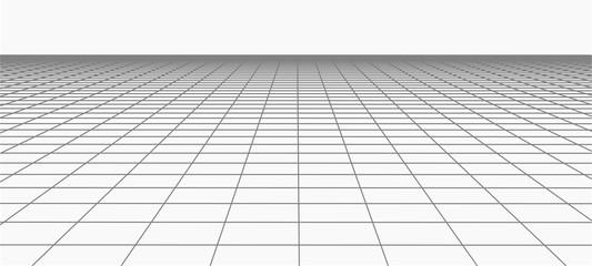 Abstract frame landscape. Vector perspective grid. 3d mesh Fotobehang