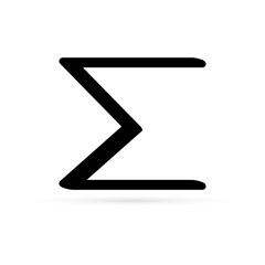 black sigma icon, vector illustration