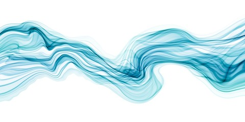 Abstract transparent brush stroke wave flowing in blue and green colors isolated on white backgrounds