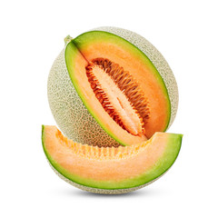 whole and slice of japanese melons, or cantaloupe with seeds isolated on white background