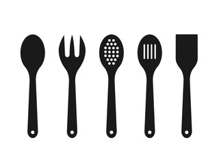 Black wooden spoons on white background. Silhouettes of mixing spoon, spatula, fork, strainer. Cooking tools icons. Kitchen utensils made of wood. Kitchen equipment set. Vector illustration, flat.