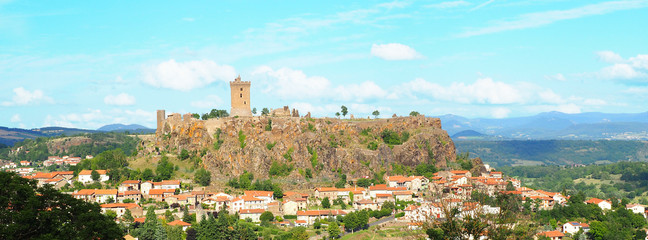 The fortress of Polignac (XIth century) is placed on a rocky spur, on cliffs more than hundred meters high, near the town of Le Puy-en-Velay, in the Auvergne region
