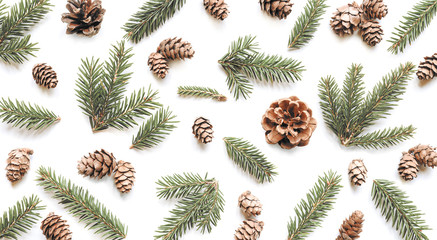 Fototapeta Fir branches and cones on white background. Christmas pattern. obraz