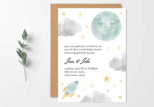Baby Shower Invitation Layout with Moon and Rocket Ship Illustrations