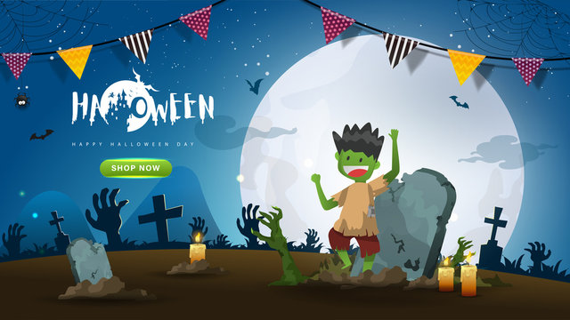 Little Cute Zombie on Dark night background.Banner of Happy Halloween Day. Creative and Modern design in EPS10 Vector Illustration.