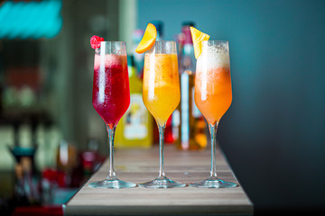 Colorful Summer Cocktails with Prosecco, Three Kind of Fruit Cocktails - Raspberry, Peach and Pineapple, Horizontal Wallpaper