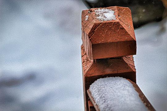 Snow Covered Hand Rail