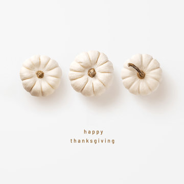 minimalist autumn / fall concept or greeting / invitation card for thanksgiving with three white pumpkins in a row - top view / flat lay
