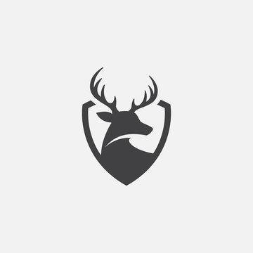 Deer and shield logo design template. deer head logo icon, deer shield icon design illustrtion, impala icon