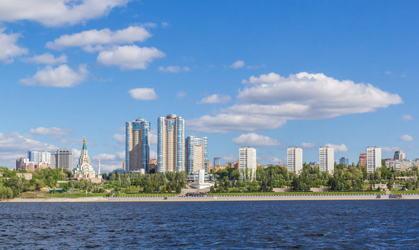 New buildings on the banks of the Volga River in Samara