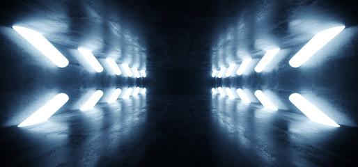 Dark Empty Sci Fi Futuristic Concrete Grunge Room Arrows Pointers Cylinder Tube Lights Glowing Reflections Garage Hall Underground Spaceship Tunnel Corridor 3D Rendering Wall mural