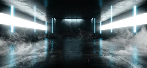 Garden Poster Smoke Smoke Neon Glowing Laser Blue Pylons Arch White Concrete Underground Garage Sci Fi Futuristic Hall Stage Podium Grunge Columns Dark Spaceship Tunnel Corridor 3D Rendering