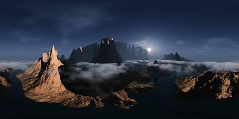Obraz Alien landscape. Canyon. HDRI, environment map , Round panorama, spherical panorama, equidistant projection, panorama 360 - fototapety do salonu