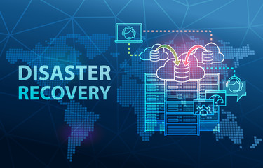 Disaster Recovery Cloud Server Data Loss Prevention Concept Background Fotomurales