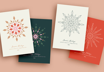 Winter Holiday Card Layout with Geometric Snowflake Illustration Element