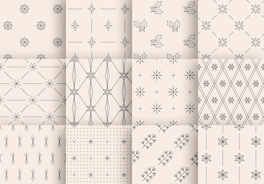 Minimalist Winter Holiday Patterns Set