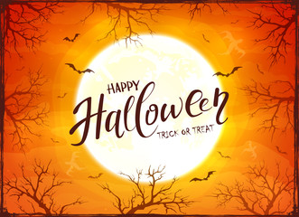 Happy Halloween and Ghosts on Orange Background