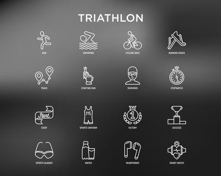 Triathlon thin line icons set: runner, swimmer, cycling race, stopwatch, starting, gun, sport glasses, start, victory, success. Modern vector illustration for black theme.