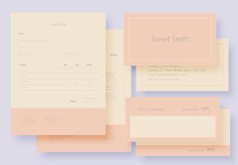 Stationary Set Layout with Yellow and Pink Elements