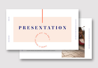 Presentation Layout with Pink and Red Elements