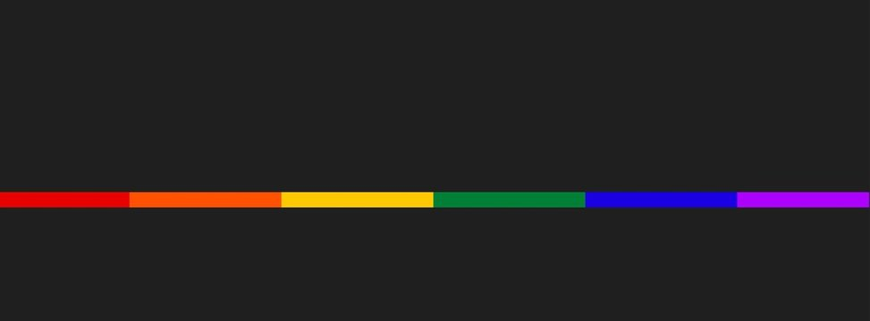 Thin line in LGBT flag colors on dark background. Symbol lesbian, gay, bisexual, transgender rainbow flag. Poster, card, banner, background