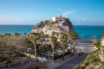 Tropea view with Monastery of Santa Maria dell Isola on top of rock Tyrrhenian Sea - Vibo Valentia, Calabria, Southern Italy