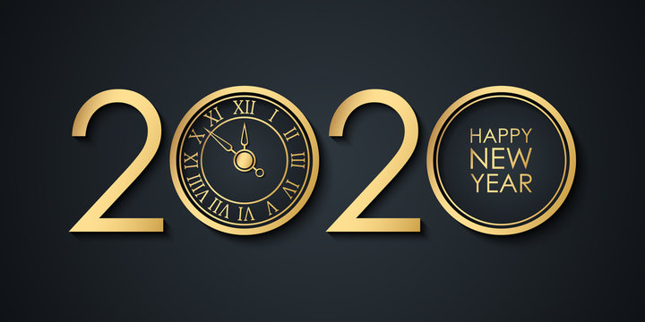 2020 New Year celebrate banner with 2020 numbers creative design, gold clock and Happy New Year holiday greetings. Vector illustration.