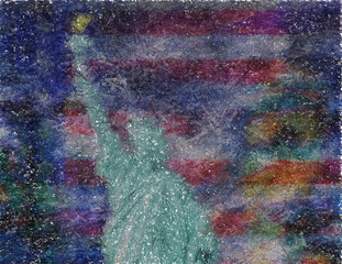 Abstract composition. Silhouette of Liberty Statue. Image composed entirely of random words. 3D rendering